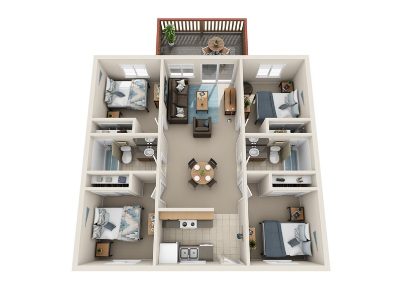 University Heights - 4x2 Floor Plan